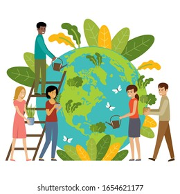 Ecology concept. People take care about planet. Protect nature. Earth day. Globe with plants and volunteer people. Vector illustration