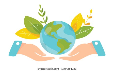 Ecology concept. People take care about planet ecology. Protect nature and ecology banner. Earth day. Earth globe in hands. Vector illustration.