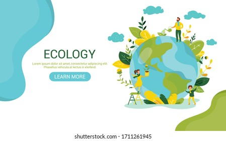 Ecology concept. People take care about planet ecology. Protect nature and ecology banner. Earth day Globe with trees plants and volunteer. Vector illustration. Web template for internet sites headers