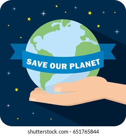 Ecology concept. save our planet vector illustration