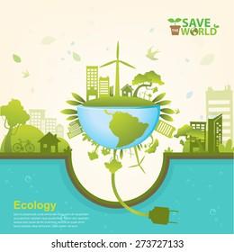 Ecology concept save world vector