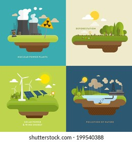 Ecology Concept Vector Icons Set for Environment, Green Energy and Nature Pollution Designs. Nuclear Power Plant and Deforestation. Flat Style.