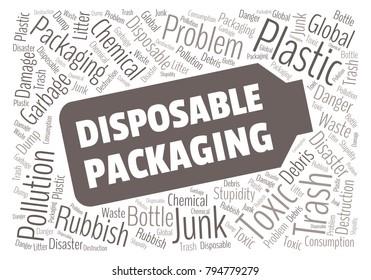 Ecology concept vector illustration. Plastic garbage global problem. Disposable packaging danger. Word cloud