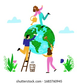 Ecology concept. Volunteers clean and wash the planet. People take care of planet ecology. Earth day and Save the planet concept. Vector flat illustration isolated on a white background.