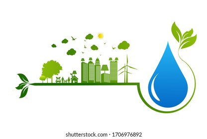 Ecology concept with water droplet vector illustration