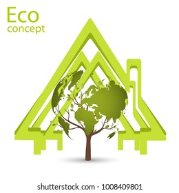 Ecology concept, wood, in the form of a map of the world, inside a green house, Environmentally friendly world. Illustration of ecology the concept of info graphics.