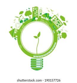 Ecology concepts design on white background vector illustration