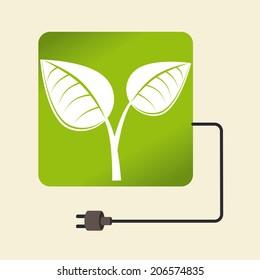 Ecology design over beige background, vector illustration