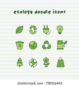Ecology doodle icons on paper line with green color tones