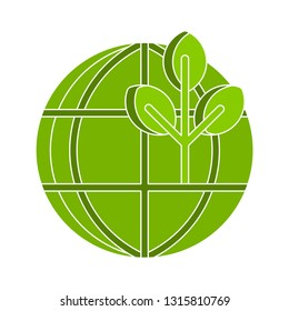 ecology earth icon, eco world illustration - vector alternative energy, nature planet isolated. environmental icon
