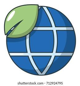 Ecology earth planet globe icon. Cartoon illustration of ecology earth planet globe vector icon for web