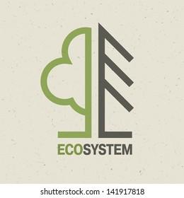 Ecology emblem concept, vector