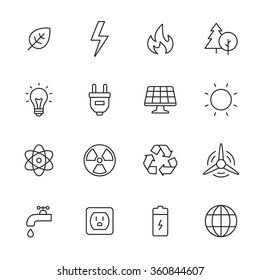 Ecology and energy line icons