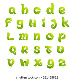 Ecology english alphabet letters with leaves and negative space. Font style, vector design template elements.