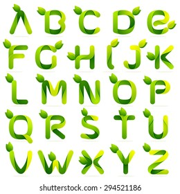 Ecology english alphabet letters with leaves set. Vector design template elements an icon for your ecology application or company