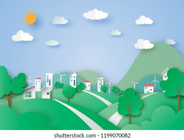 Ecology and environment concept with green city and nature landscape paper art abstract background.Vector illustration.