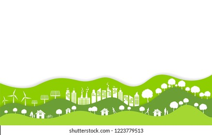 Ecology and environment conservation concept with Eco green urban city and sustainable,Vector illustration.
