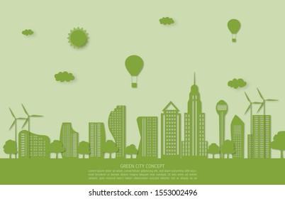 Ecology and environment conservation concept. Green city landscape in paper cut style.
