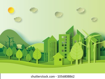 Ecology and environment conservation creative idea concept design.Eco green urban city and nature landscape background paper art style.Vector illustration.