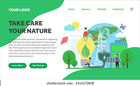 ecology and environment creative illustration vector for landing page , small people in ecology and environment illustration vector , save the planet, save energy, Earth Day landing page