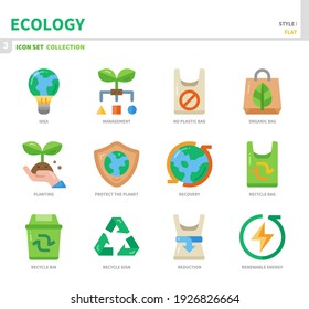 ecology and environment icon set,flat style,vector and illustration