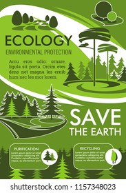 Ecology and environment protection banner for Save the Earth design. Recycling, purification and nature conservation eco technology poster with green tree landscape for ecology sustainable development