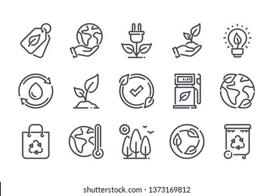 Ecology and Environment related line icon set. Nature and Renewable Energy linear icons. Eco friendly outline vector sign collection.