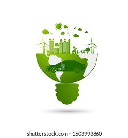 Ökologie und Umweltstadtkonzept, Autosymbol mit grünen Blättern rund um die Städte helfen der Welt mit umweltfreundlichen Ideen