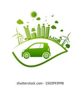 Ecology and Environmental Cityscape Concept,Car Symbol With Green Leaves Around Cities Help The World With Eco-Friendly Ideas