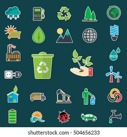 Ecology and environmental icons set with outline.