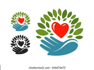 Ecology, environmental protection logo or label. Natural, organic product, environmentally friendly icon. Vector illustration