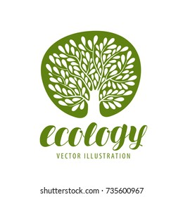 Ecology, environmental protection, nature logo or symbol. Tree with leaves icon. Vector illustration