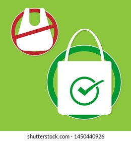Ecology and Environmental Save World Concept,No plastic bags.Vector illustration