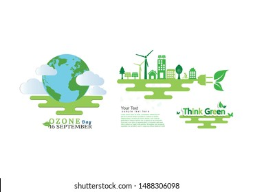 Ecology environmentally friendly concept.World Ozone Day. vector illustration