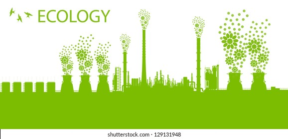 Ecology factory chimney vector background concept with no pollution green concept