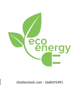 Ecology and Fan Concept, Green Leaves Around Cities Help The World With Eco-Friendly Ideas Eco energy logo template vector icon illustration. Electricity, environment.