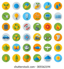 Ecology Flat Icons on Circles with Shadow. Set Isolated on White. Vector illustration. Hand with sprout, hand with water drop. Solar energy sign, wind energy sign, wild animals. Save the planet.