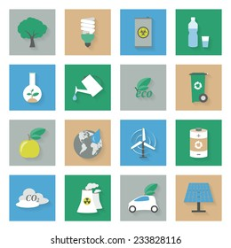 Ecology flat icons set with shadows