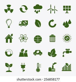 Ecology flat material design concept with ecology, environment, green energy and pollution icons set