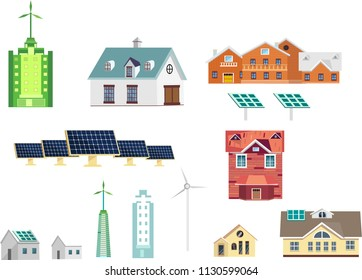 Ecology friendly equipped houses, wind turbines, green lechnologies, vector set