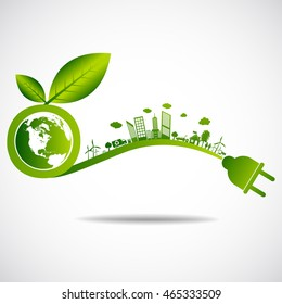Ecology green city save earth concept
