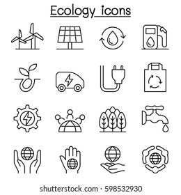 Ecology, Green Energy icon set in thin line style