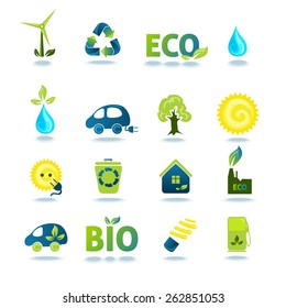 Ecology green energy and recycling icons with shadows set isolated vector illustration