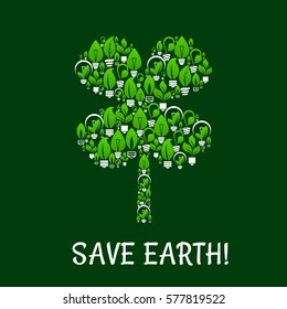 Ecology and green energy vector with clover leaf . Energy saving, environment and nature conservation, pollution protection concept of light bulbs with green tree leaves