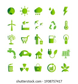Ecology green icon set, eco technology, renewable energy, environmental protection, sustainable development, nature conservation, windmill, recycle bin