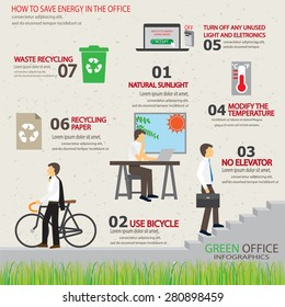 ecology green office working place infographic element and background. way to save energy. design for layout, banner, web design, brochure, template. vector illustration