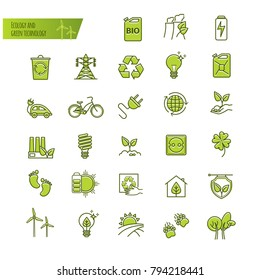 Ecology, green technology, organic. Thin line icons set for your design