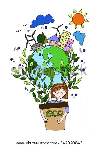 Ecology Green World Concept Hand Drawing Stock Vector Royalty Free