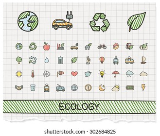 Ecology hand drawing line icons. Vector doodle pictogram set: color pen sketch sign illustration on paper with hatch symbols: energy, eco friendly, environment, tree, green, recycle, bio, clean