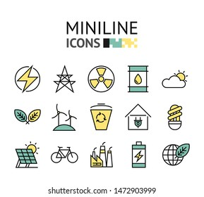 ecology healthcare factory environment minimal flat line icons vector illustration